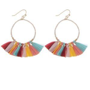 Multi-Color Raffia Tassel Earrings